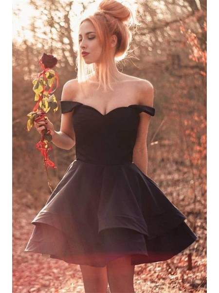 A-Line/Princess Spandex Off-the-Shoulder Sleeveless Short/Mini Homecoming Dresses with Ruffles