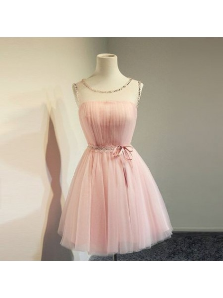 A-Line/Princess Tulle Scoop Sleeveless Short/Mini Homecoming Dresses with Beading