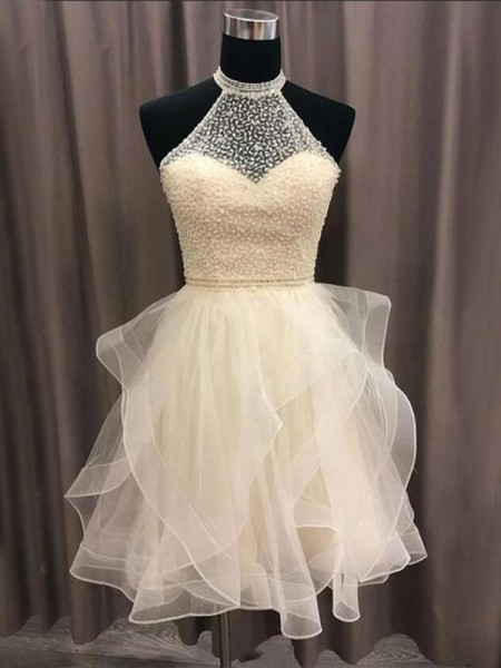 A-Line/Princess Organza Halter Sleeveless Short/Mini Homecoming Dresses with Beading