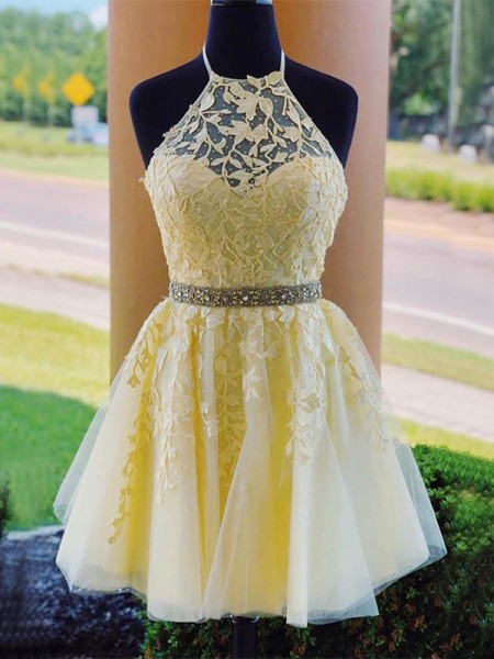 A-Line/Princess Tulle Halter Sleeveless Short/Mini Homecoming Dresses with Applique
