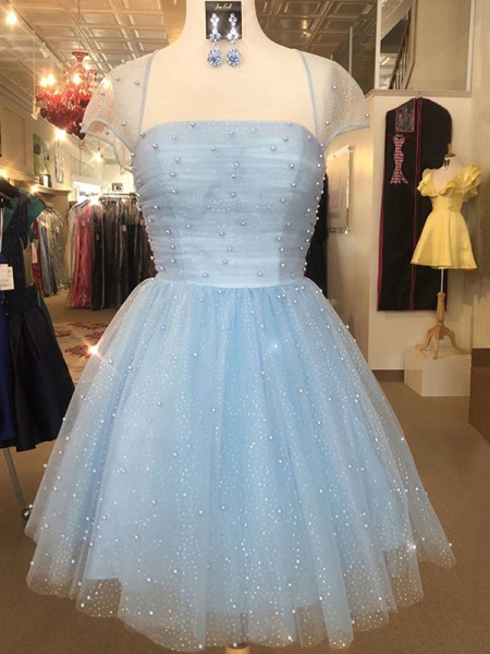A-Line/Princess Tulle Strapless Short Sleeves Short/Mini Homecoming Dresses with Beading