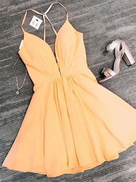 A-Line/Princess Chiffon V-neck Sleeveless Short/Mini Homecoming Dresses with Ruffles