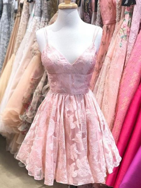 A-Line/Princess Spaghetti Straps Sleeveless Lace Short/Mini Homecoming Dresses with Ruffles