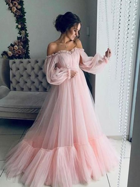 A-Line/Princess Tulle Off-the-Shoulder Long Sleeves Floor-Length Dresses with Applique
