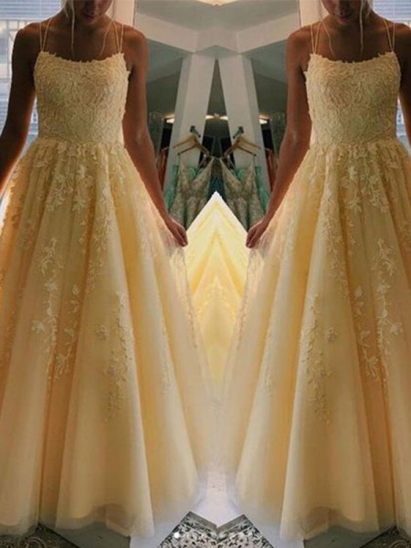 A-Line/Princess Tulle Spaghetti Straps Sleeveless Floor-Length Dresses with Applique