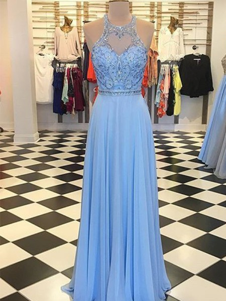 A-Line/Princess Chiffon Halter Sleeveless Floor-Length Dresses with Beading