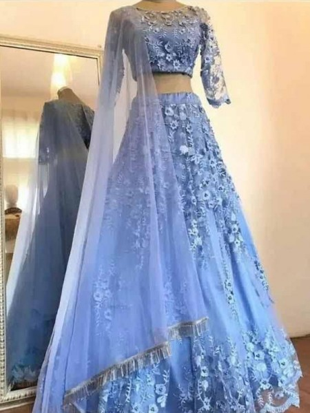 A-Line/Princess Tulle Scoop 3/4 Sleeves Floor-Length Two Piece Dresses with Applique