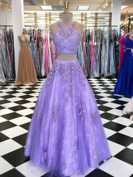 A-Line/Princess Tulle Halter Sleeveless Floor-Length Two Piece Dresses with Beading