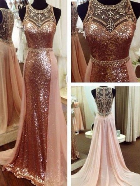 A-Line/Princess Sequins Scoop Sleeveless Sweep/Brush Train Dresses with Beading
