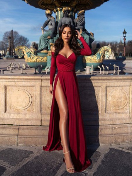 A-Line/Princess Off-the-Shoulder Long Sleeves Sweep/Brush Train Elastic Woven Satin Dresses with Ruched