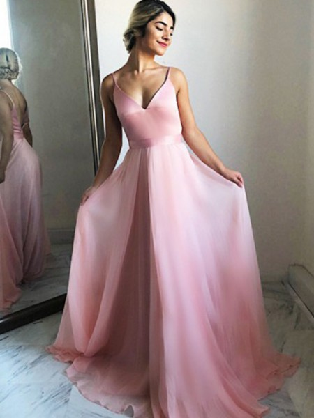 A-Line/Princess Chiffon Spaghetti Straps Sleeveless Sweep/Brush Train Dresses with Ruffles