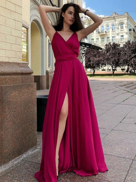 A-Line/Princess Satin Chiffon Spaghetti Straps Sleeveless Sweep/Brush Train Dresses with Ruffles
