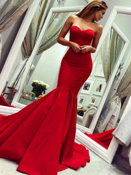 Trumpet/Mermaid Strapless Court Train Satin Sleeveless Dresses with Ruffles