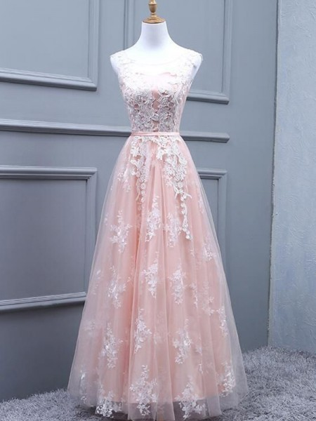 A-Line/Princess Tulle Scoop Sleeveless Floor-Length Dresses with Applique