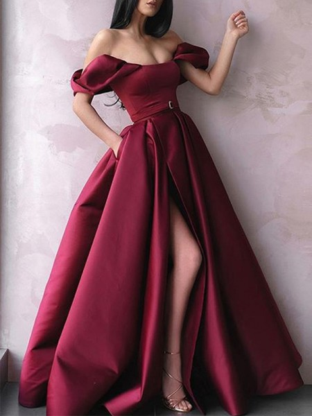 A-Line/Princess Off-the-Shoulder Satin Floor-Length Sleeveless Dresses with Sash/Ribbon/Belt