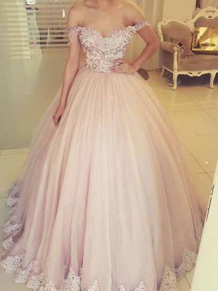 Ball Gown Off-the-Shoulder Floor-Length Sleeveless Tulle Dresses with Applique