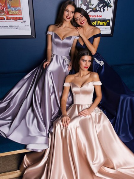 A-Line/Princess Satin Off-the-Shoulder Sleeveless Sweep/Brush Train Dresses with Ruffles