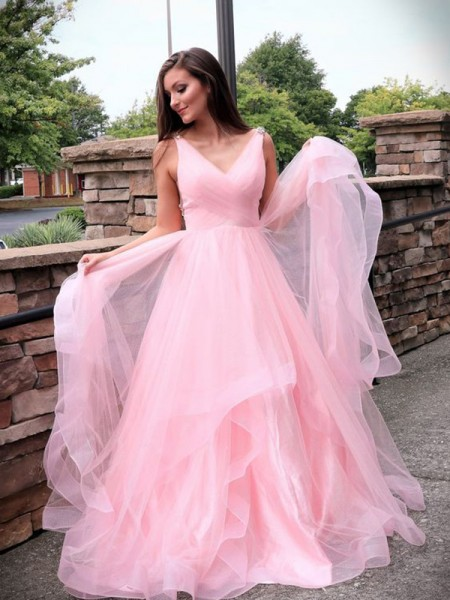 A-Line/Princess Tulle Sleeveless Sweep/Brush Train V-neck Dresses with Ruched
