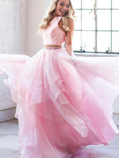 A-Line/Princess Scoop Tulle Sleeveless Floor-Length Two Piece Dresses with Beading