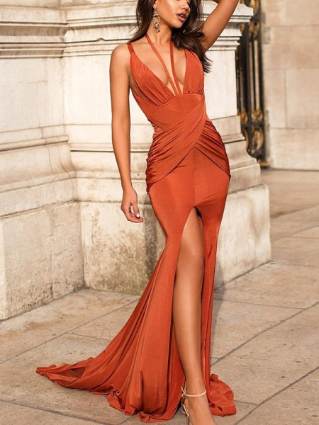 Trumpet/Mermaid Sleeveless Satin V-neck Sweep/Brush Train Dresses with Ruched