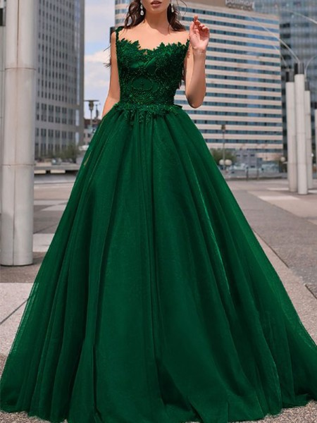 A-Line/Princess Bateau Tulle Floor-Length Sleeveless Dresses with Beading