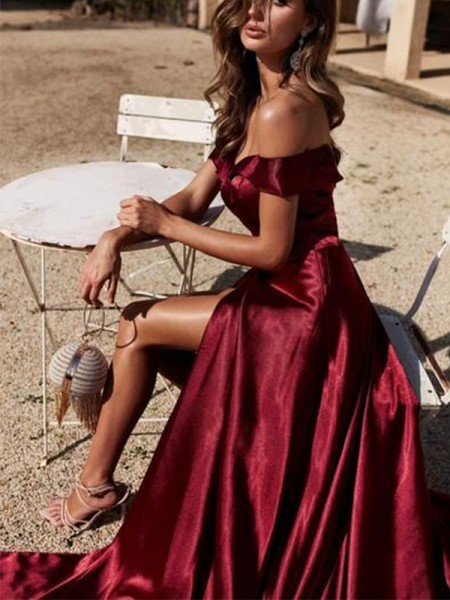A-Line/Princess Off-the-Shoulder Satin Court Train Sleeveless Dresses with Ruffles