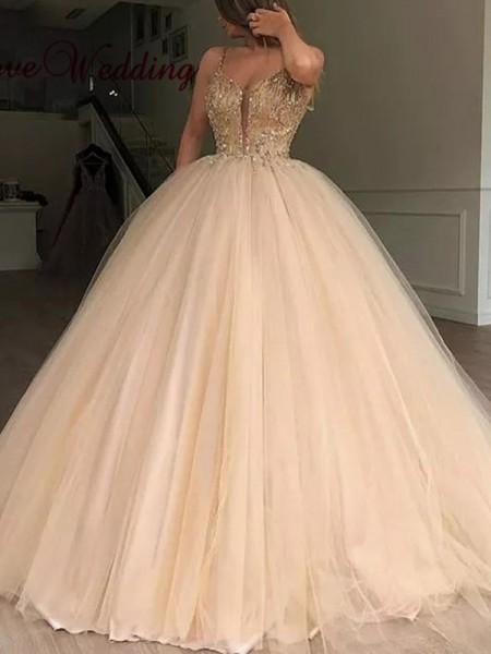 Ball Gown V-neck Tulle Sleeveless Floor-Length Dresses with Beading