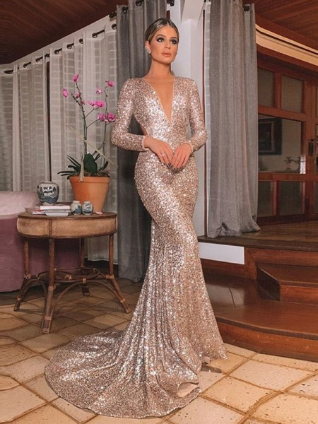 Trumpet/Mermaid Sequins Long Sleeves V-neck Sweep/Brush Train Dresses with Ruffles