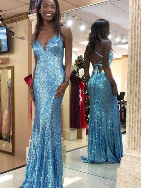 Trumpet/Mermaid Sequins Sleeveless V-neck Sweep/Brush Train Dresses with Ruffles