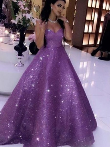 Ball Gown Sequins Sweetheart Sleeveless Sweep/Brush Train Dresses with Ruffles