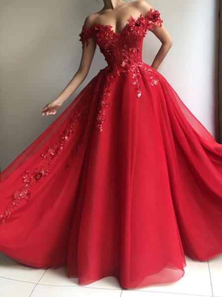 A-Line/Princess Tulle Off-the-Shoulder Sleeveless Floor-Length Dresses with Applique