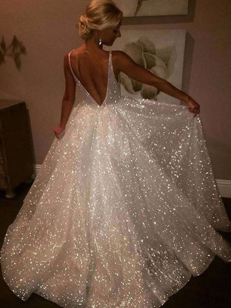 A-Line/Princess Tulle Sweep/Brush Train Sleeveless V-neck Dresses with Sequin