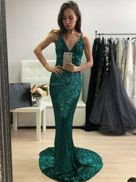 Trumpet/Mermaid Sequins V-neck Sweep/Brush Train Sleeveless Dresses with Ruffles