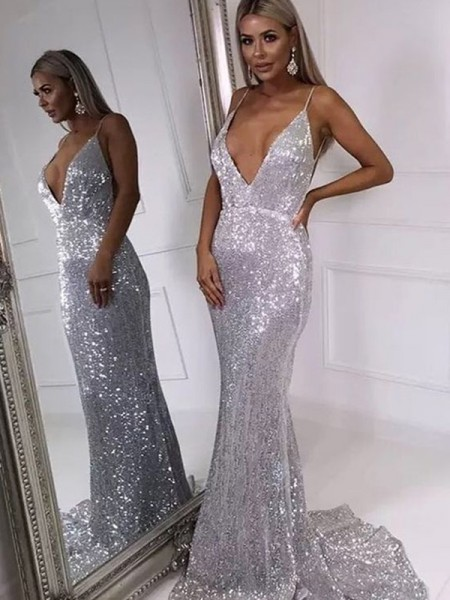 Trumpet/Mermaid V-neck Sweep/Brush Train Sleeveless Sequins Dresses with Ruffles