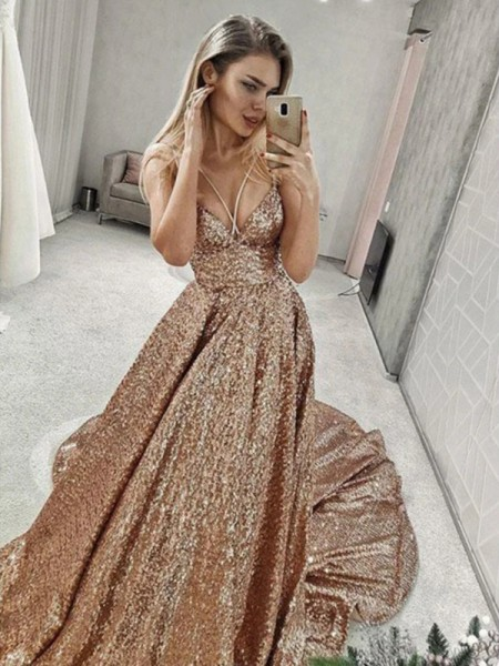 A-Line/Princess Sequins Spaghetti Straps Sleeveless Court Train Dresses with Ruffles