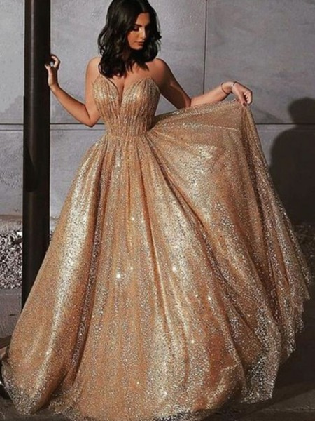 A-Line/Princess Spaghetti Straps Tulle Sleeveless Sweep/Brush Train Dresses with Sequin