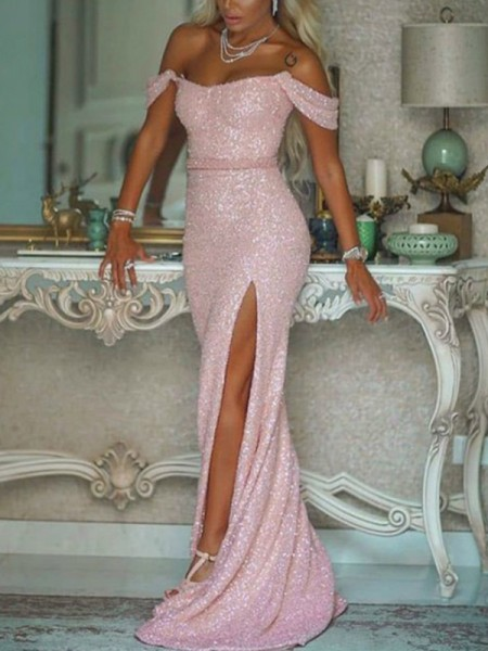 Trumpet/Mermaid Off-the-Shoulder Sequins Sleeveless Sweep/Brush Train Dresses with Sash/Ribbon/Belt