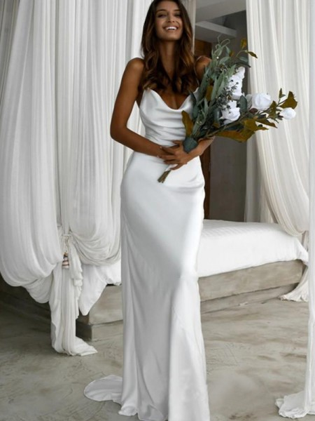 Sheath/Column Silk like Satin Spaghetti Straps Sweep/Brush Train Sleeveless Wedding Dresses with Ruched