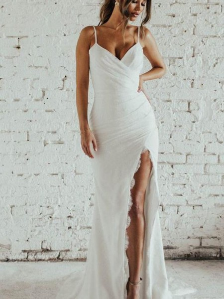 Sheath/Column Spaghetti Straps Sleeveless Chiffon Sweep/Brush Train Wedding Dresses with Ruched