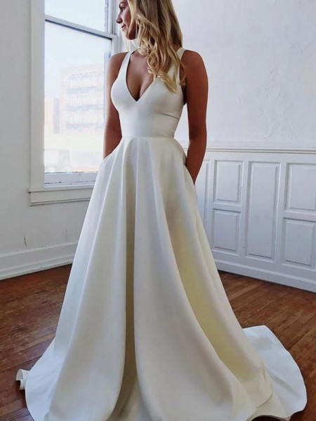 A-Line/Princess V-neck Satin Sleeveless Sweep/Brush Train Wedding Dresses with Ruffles