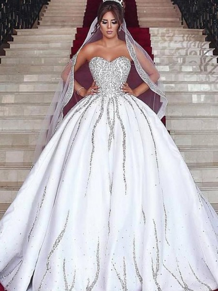 Ball Gown Sweetheart Satin Sleeveless Sweep/Brush Train Wedding Dresses with Beading