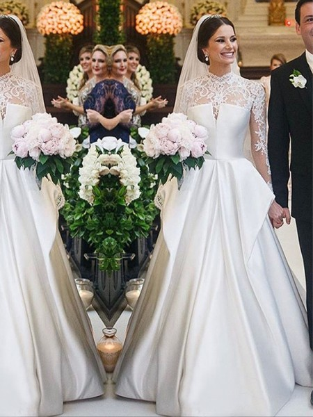 A-Line/Princess Satin High Neck Long Sleeves Floor-Length Wedding Dresses with Lace