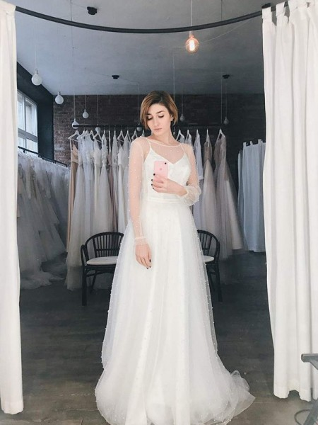 A-Line/Princess Tulle Scoop Long Sleeves Sweep/Brush Train Wedding Dresses with Beading