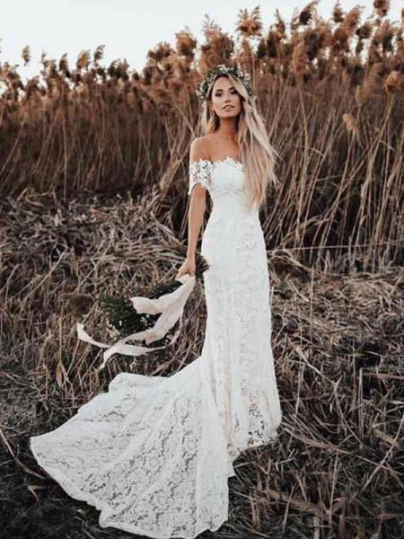 Trumpet/Mermaid Lace Off-the-Shoulder Short Sleeves Court Train Wedding Dresses with Applique