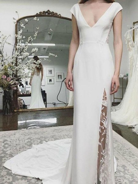 Sheath/Column Satin V-neck Sleeveless Court Train Wedding Dresses with Lace