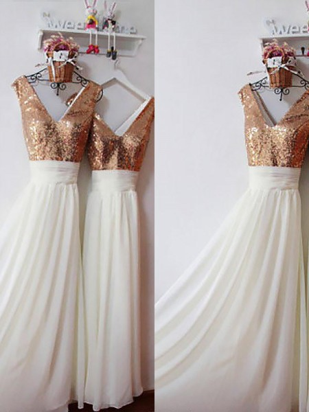 A-Line/Princess Chiffon V-neck Floor-Length Bridesmaid Dresses with Sequin