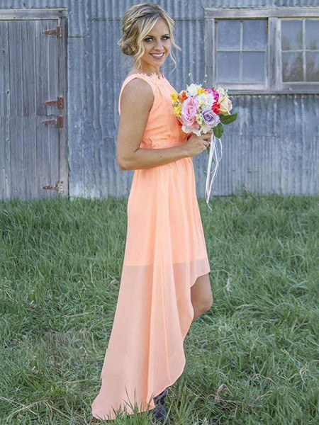 A-Line/Princess Scoop Asymmetrical Chiffon Bridesmaid Dresses