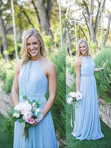 A-Line/Princess Halter Chiffon Floor-Length Bridesmaid Dresses