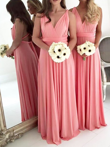 A-Line/Princess V-neck Floor-Length Spandex Bridesmaid Dresses