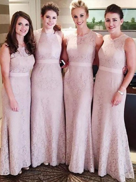 Sheath/Column Lace Scoop Floor-Length Bridesmaid Dresses